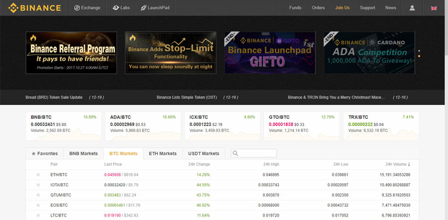 Binance is one of the newest exchanges